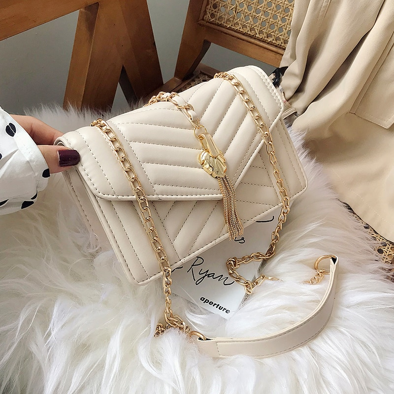 Elegante bolso cuadrado de solapa de mujer 2019 moda nueva calidad de cuero PU bolso de diseñador de mujer borla cadena bandolera