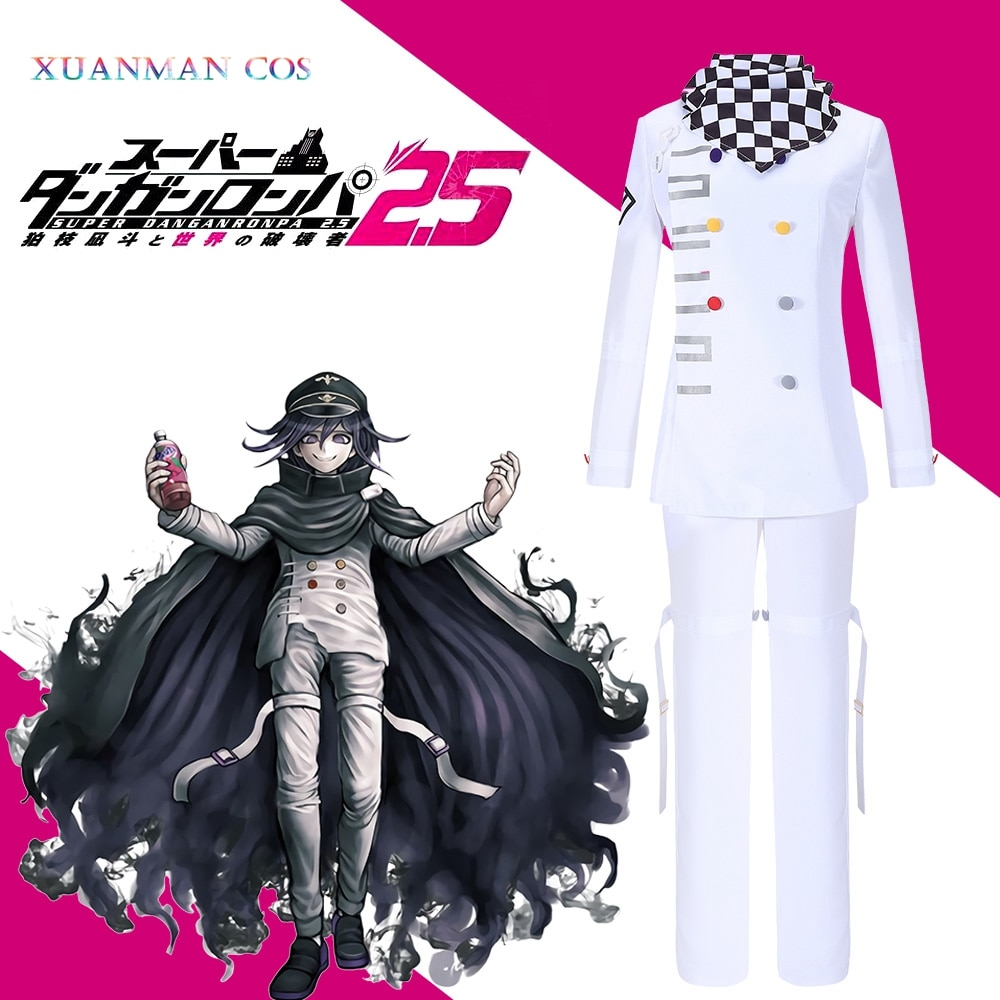 Danganronpa V3 Kokichi Ouma Cosplay White Uniform Halloween Fancy Outfit Pants Full Set Costume With Scarf