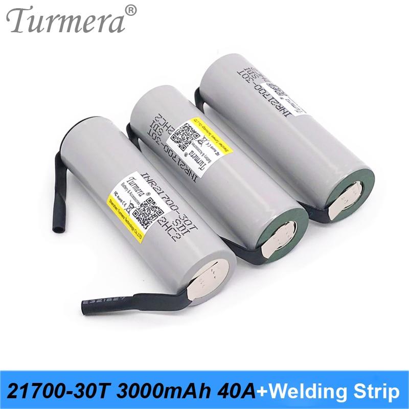 Turmera 21700 batería 3000mah 40A INR21700-30T batería de litio recargable con tira de soldadura batería de bicicleta eléctrica y destornillador