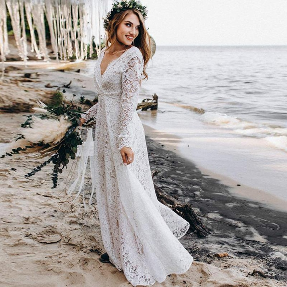 Платье женское кружевное в стиле хиппи, богемное пляжное свадебное, с V-образным вырезом и длинным рукавом, недорого, в стиле бохо