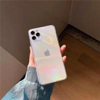 luxe aurora transparante telefoon case voor iphone 12 11 pro max 7 8 plus x xr xs max se 2020 mode laser regenboog acryl cover