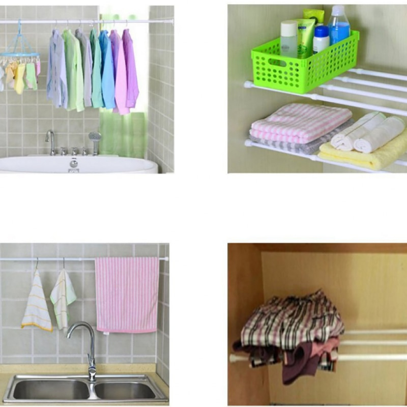 Telescopic Clothing Rod 50-75CM Adjustable Bathroom Shower Curtain Rod Free Punching Telescopic Rod Simple Curtain Support Rod enlarge