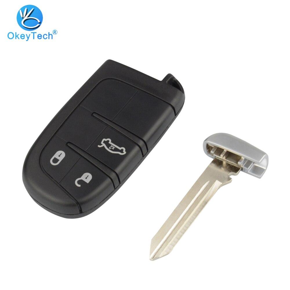 OkeyTech-coque de clé de voiture Chrysler   Coque de clé de voiture pour Jeep boussole Renegade Cherokee, lame à 3 boutons, lame durgence