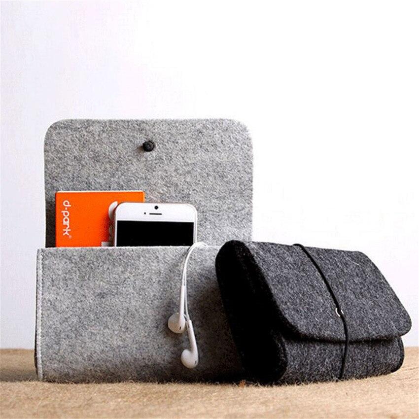 Bolsa de almacenamiento para batería externa de fibra de lana, Mini bolsa...