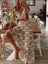 Fashion Women Summer A-Line Dress Belt Decor V-Neck Half Sleeve Mid Waist Leaf Print Slim Long Dress