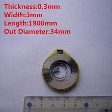 En gros personnalisé petit fil plat en acier Force constante Torsion bobine spirale ressort, 0.3mm épaisseur * 3mm largeur * 1900mm longueur