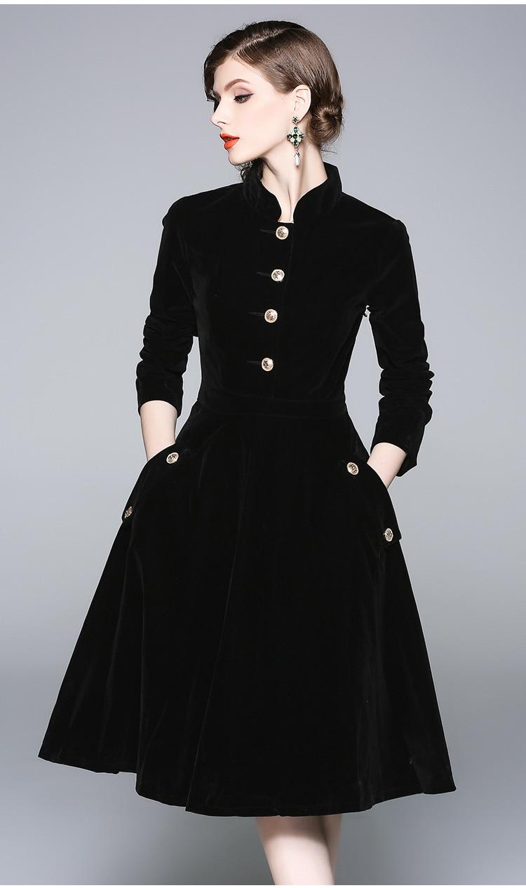 ZUOMAN-فستان نسائي مخملي أنيق ، نمط عتيق ، ملابس سهرة ، a-line ، مجموعة الخريف والشتاء ، اللون الأسود