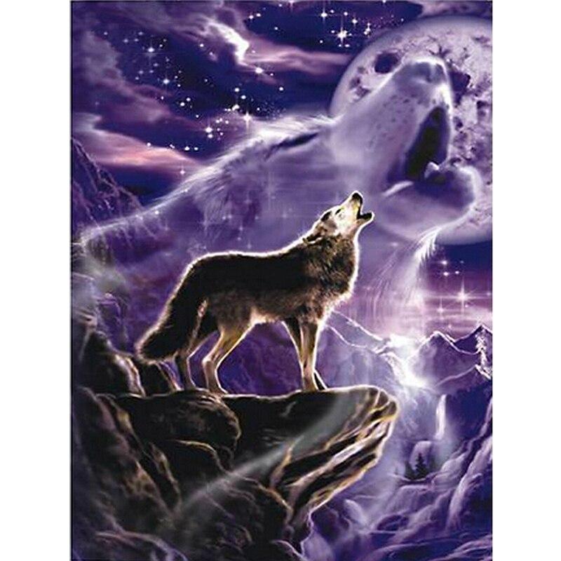 Mten lobo pintura diamante animais imagem de strass diamante mosaico pinturas neve cenário ponto cruz parede deco
