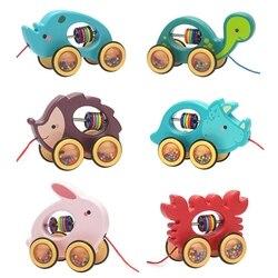 Bebê dos desenhos animados animal carro puxar corda brinquedos arrastar veículos chocalhos presentes educacionais 23gd