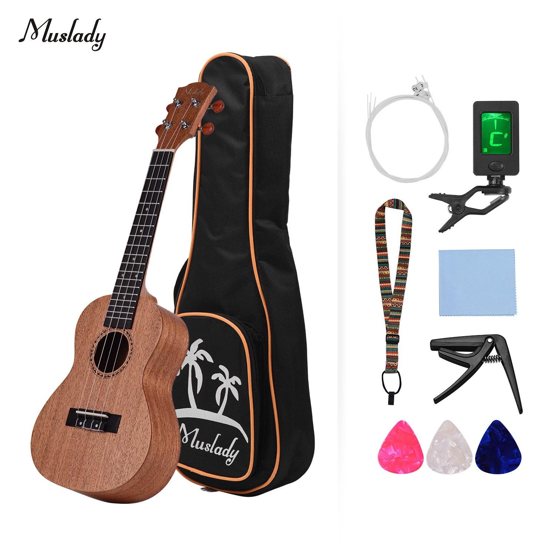 Muslady 21 дюймов Сопрано Гавайская гитара укулеле из красного дерева фанеры ремень