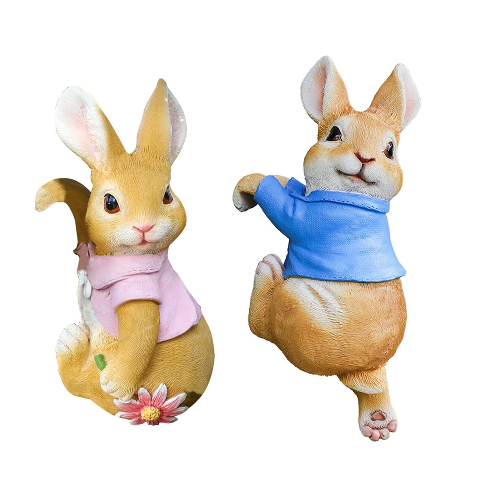 Fun Animal Rabbit Decoration Resin Crafts Statues For Garden #W0 недорого