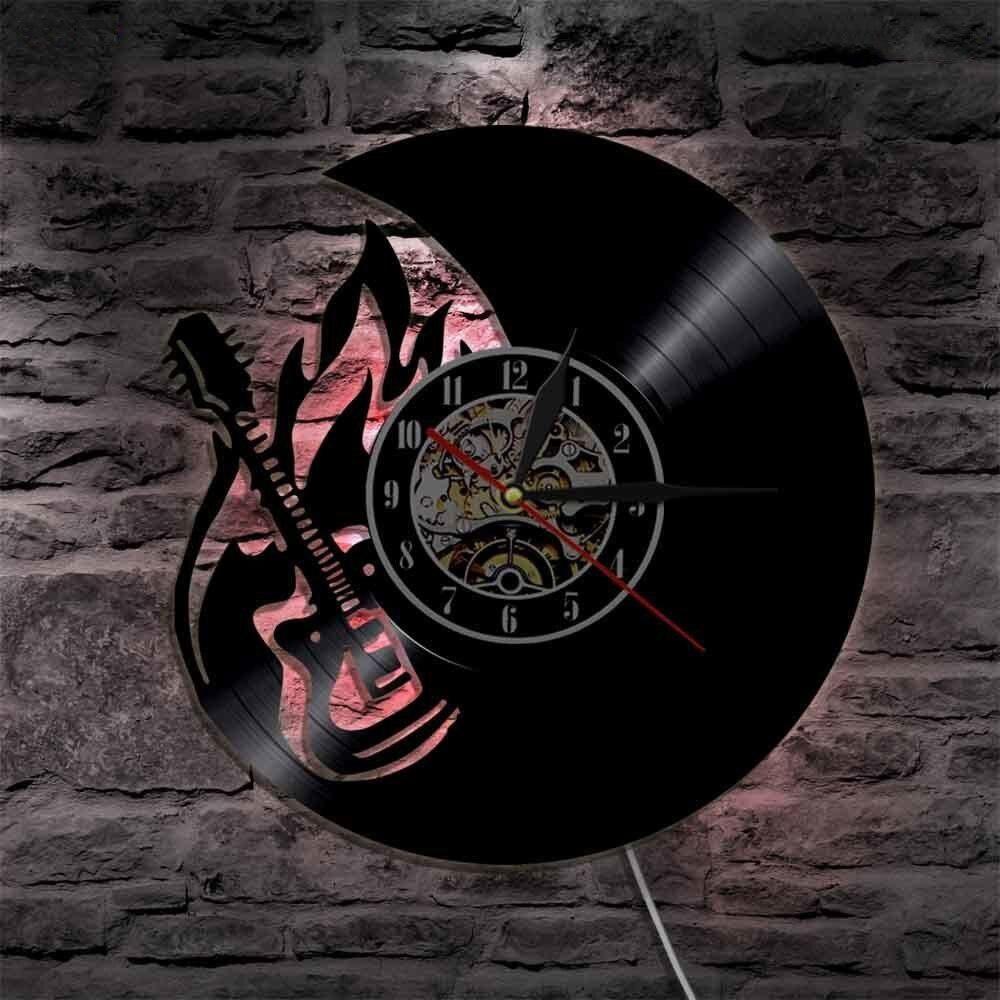 Reloj de pared de guitarra LED Reloj de pared de vinilo creativo de diseño moderno reloj de pared silencioso negro hueco 3D decorativo colgante decoración del hogar