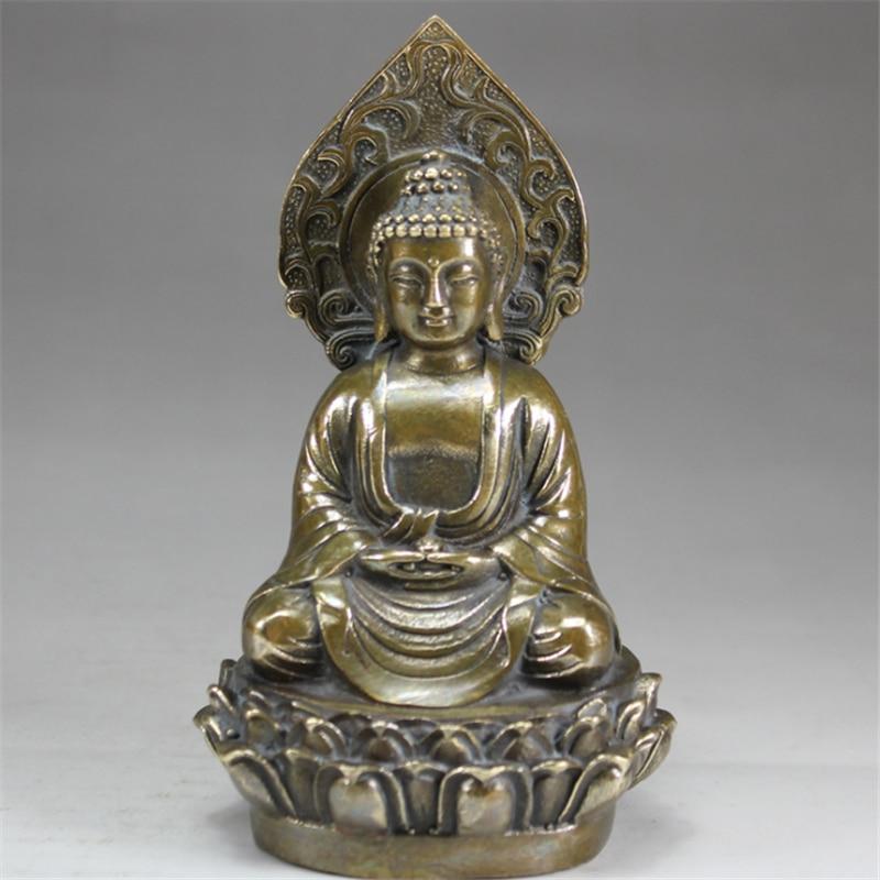 Tibetano Budismo Prata Handwork Estátua Shakyamuni Amitabha Buda Assento Decoração Metal Artesanato 14cm