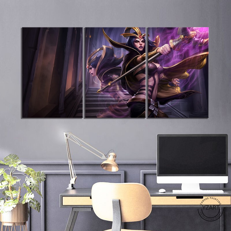 3 uds LOL LeBlanc the Deceiver fotos Liga de Leyendas póster del juego pinturas de pared para la decoración del hogar