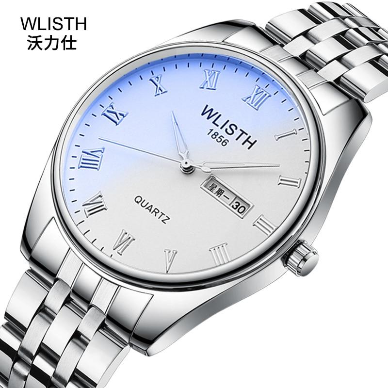 Reloj de pareja Wlisth, reloj de negocios de cuarzo con correa luminosa de acero, reloj de hombre con correa de cuero resistente al agua, reloj de mujer OEM