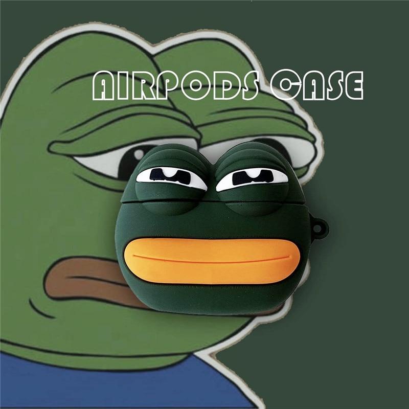 Sapo triste dos desenhos animados para airpods 1/2 fone de ouvido sem fio bluetooth conjunto silicone caso protetor
