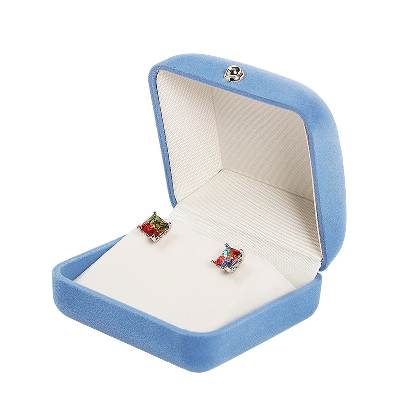 New high-end flannel Ring Blue Velvet Series Set Box With Snap Button Fashion with Decoration Gold Metal