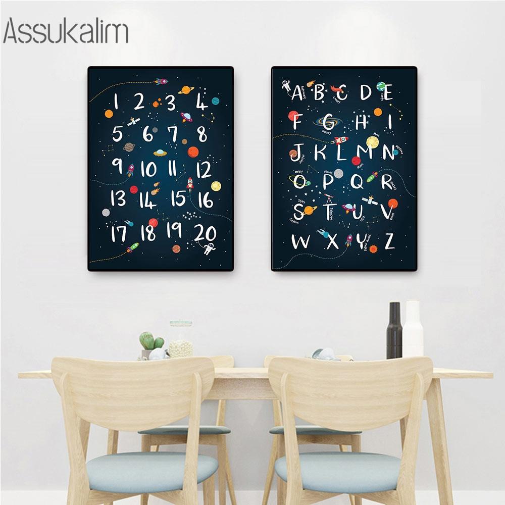 Cuadro sobre lienzo para pared de guardería, cartel del alfabeto ABC, impresión...
