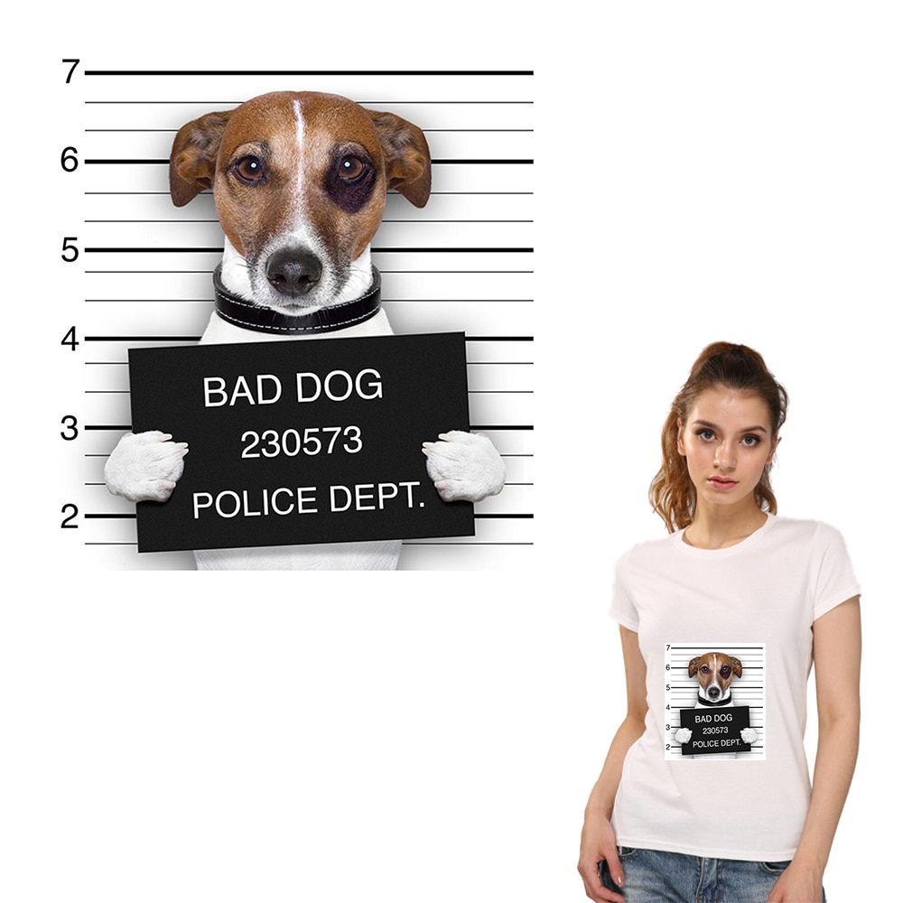 Parches de planchado XC Crimal Bad Dog, parches de ropa, accesorios de transferencia de calor DIY, divertidos parches de animales lavables A nivel