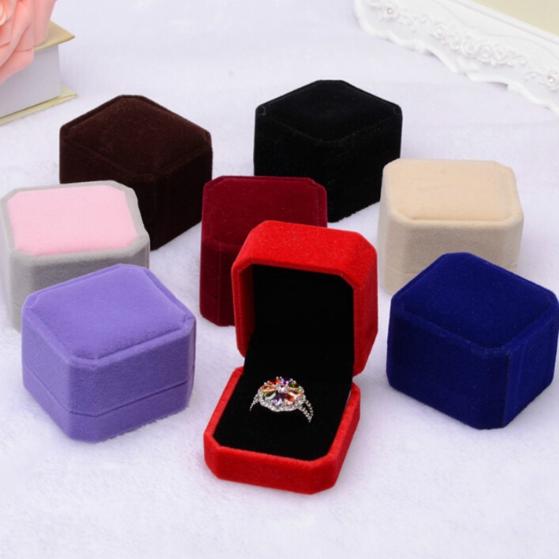 Flannelette Ring BoxGift for Jewellery Square Jewelry Boxes and Packaging Jewerly Packaging