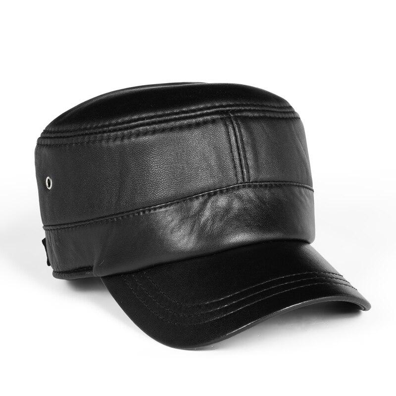 جديد 2021 الشتاء الرجال جلد طبيعي سقف غطاء للأذنين قبعات مسطحة الذكور الدفء الترفيه 57-60 سنتيمتر قابل للتعديل Gorro البقر الجلد قبعات