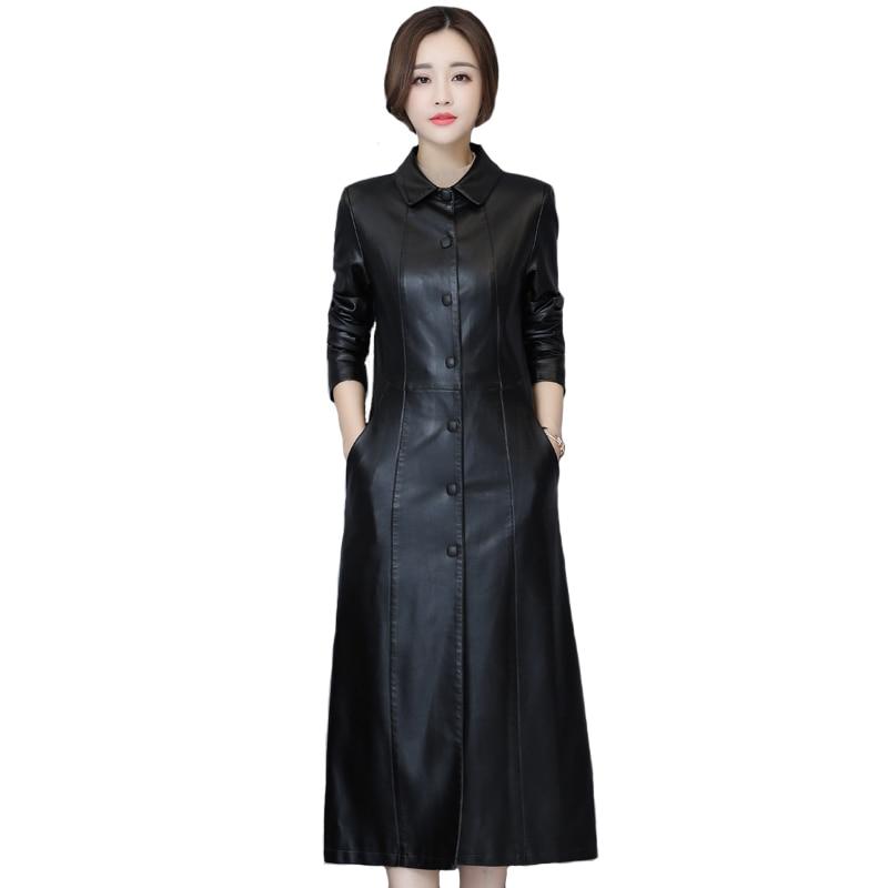 Chaqueta larga de piel sintética para Otoño e Invierno de talla grande 5XL para mujer, abrigo de piel suave ajustado a la moda, chaqueta de piel negra, gabardina para mujer