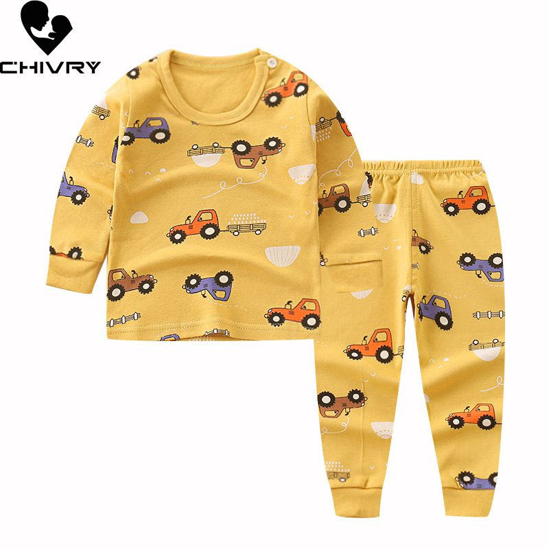 Newborn Kids Boys Girls Pajama Sets Cartoon Casual Long Sleeve Cute T-Shirt Tops with Pants Toddler