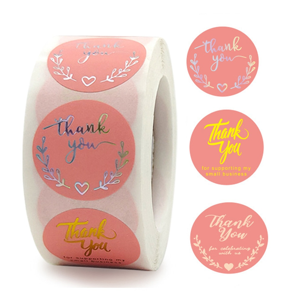 100-500-uds-oro-rosa-etiqueta-gracias-pegatina-para-apoyar-etiquetas-empresariales-de-paquete-de-suministro-de-papeleria
