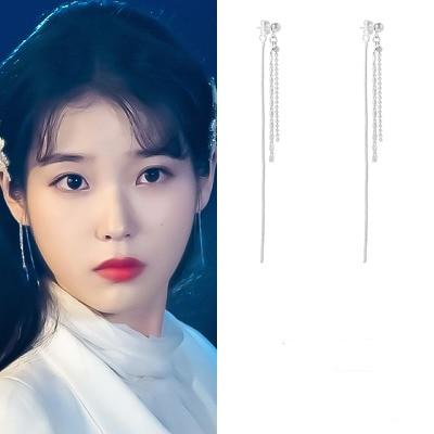 Pendientes para mujer iu Lee Ji Eun, borla de línea, joyería de moda, pendientes geométricos para mujer