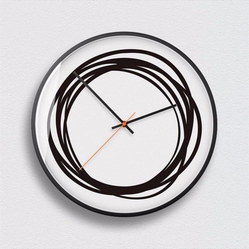 Reloj de pared minimalista diseño creativo arte del reloj de pared movimiento silencioso elegante reloj de pared gran decoración del hogar, Europa blanco negro