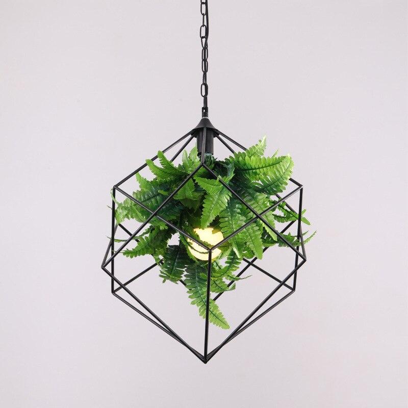 الإبداعية LED الأسود الحديد قلادة الماس ضوء مع الزخرفية الاصطناعي الأخضر النبات ل موضوع مطعم الموسيقى بار droتحكم