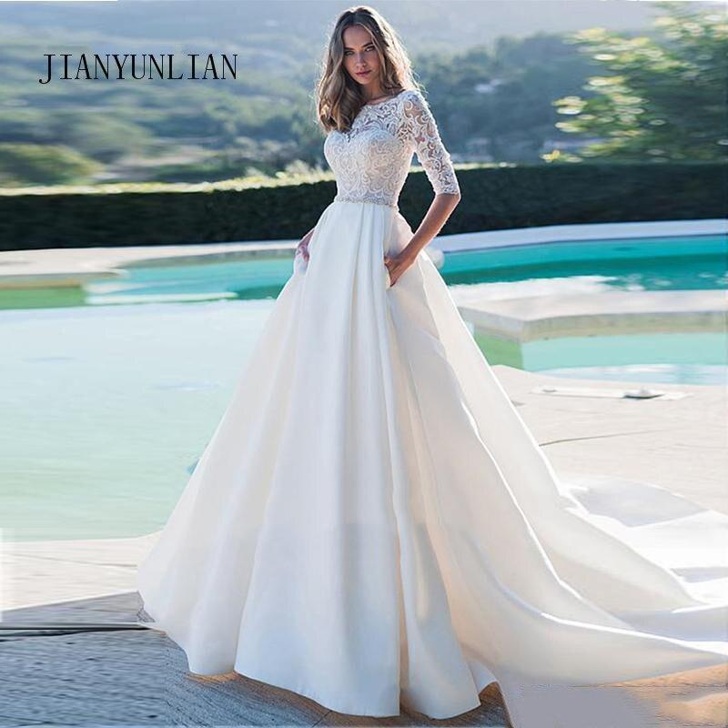 Новое свадебное платье принцессы элегантная аппликация с короткими рукавами а-силуэта платья невесты с карманами свадебное платье в богем...