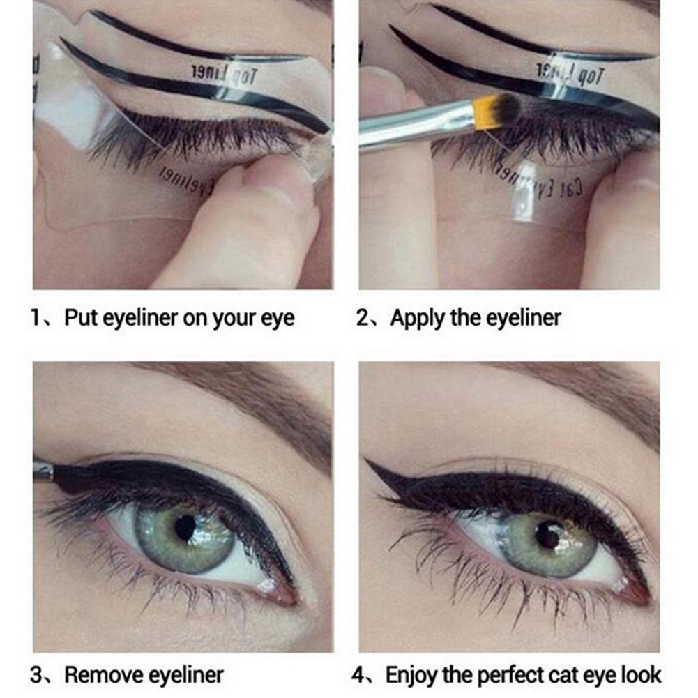 60pcs Eye Makeup Stencils Eyeliner Stencils Winged Eyeliner Stencil Template Shaping Tools Eyeliner Card Drawing Eyeliner AIDS