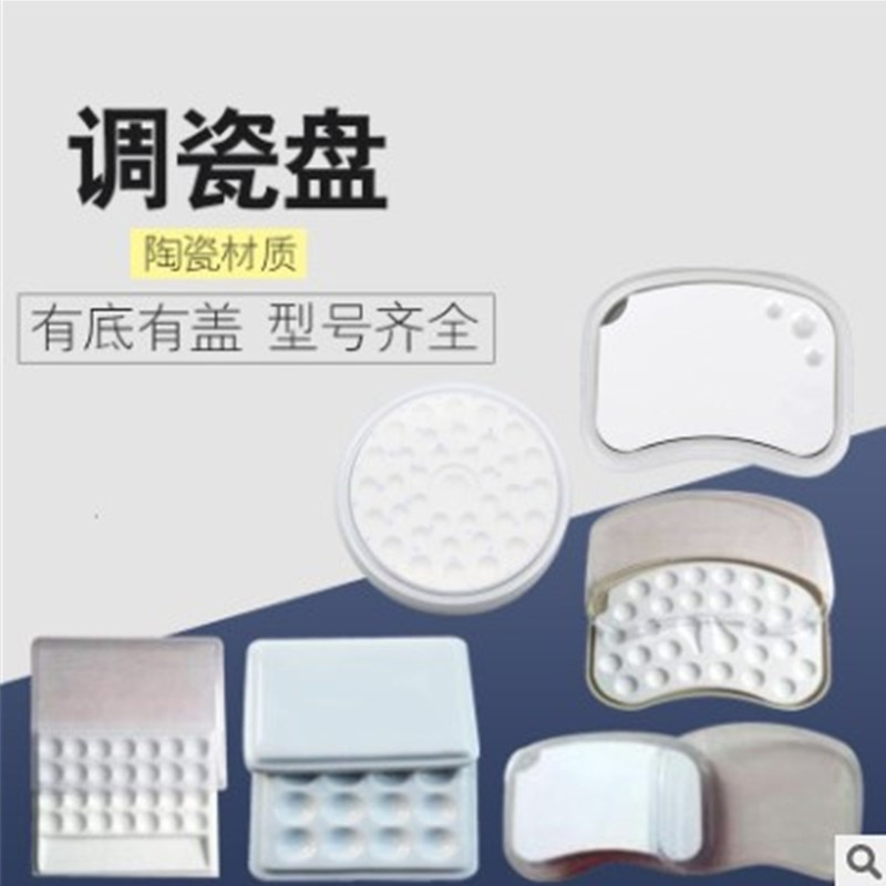 Dental de placa de porcelana mini paleta con tapa hidratante de placa de porcelana