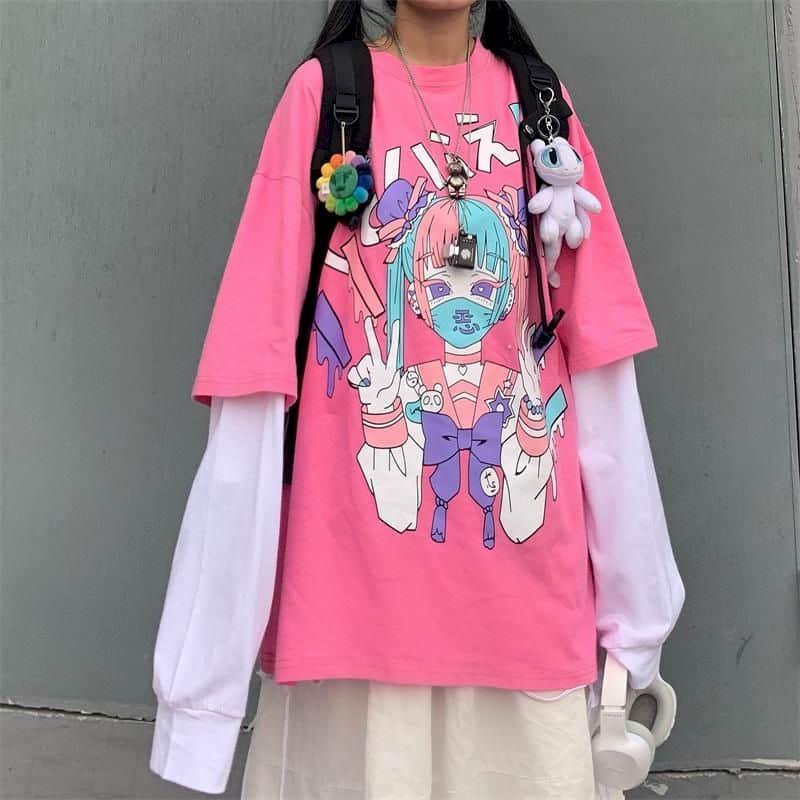 Harajuku, camiseta dulce para mujer, camiseta con costuras, estampado de dibujos animados falsos de dos piezas, Camiseta holgada de cuello redondo para estudiante de manga larga