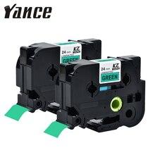 Yance 2 pièces ruban détiquettes Compatible pour imprimante Brother p-touch TZe ruban 24mm noir sur vert TZe751 TZe-751 pour imprimante à ruban