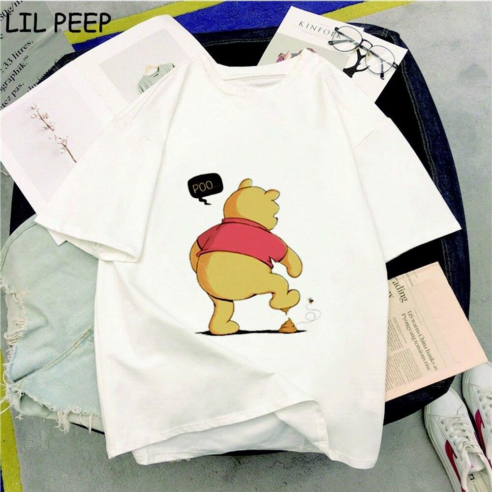 Summer Winnie Pooh Print Graphic Tees Women Kawaii T Shirt Gothic O-Neck Clothes Women Hip Hop Korean Clothes Comfortable Tops