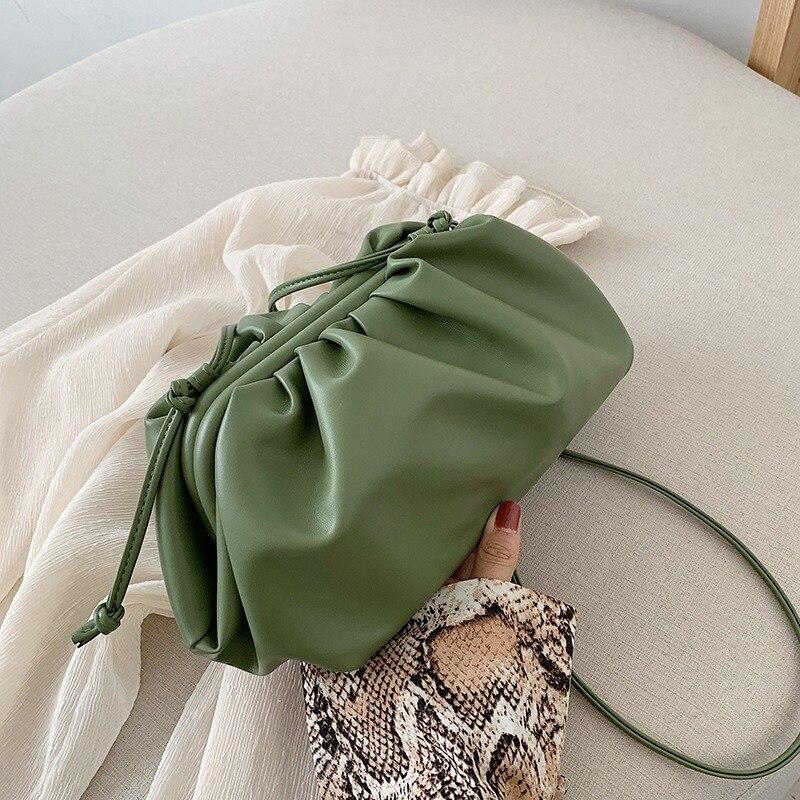 Gran oferta de diseño bolso de cuero verde, embrague de mano de las señoras bolsos de bandolera bolsa estudiante lindo monederos y bolsos de mano