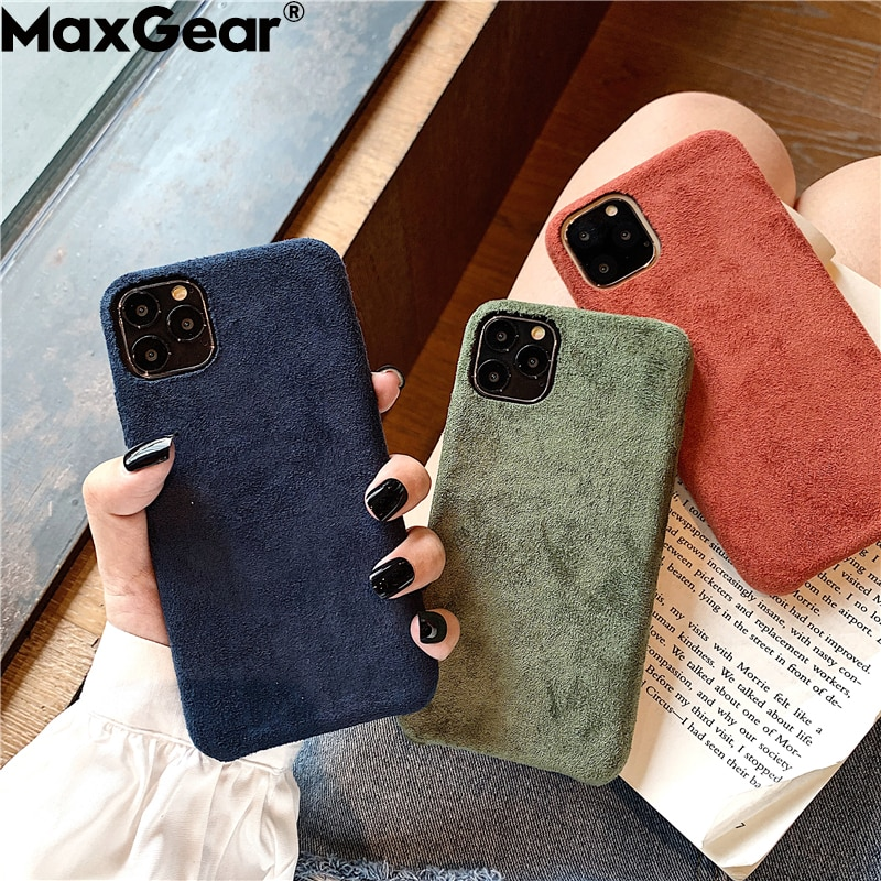 Fashion Solid Farbe Tuch Fall Für iPhone 11 Pro Max XS X XR 6 S 6 S 7 8 Plus weiche Silikon Schlank Warme Plüsch Stoff Abdeckung iPhone11