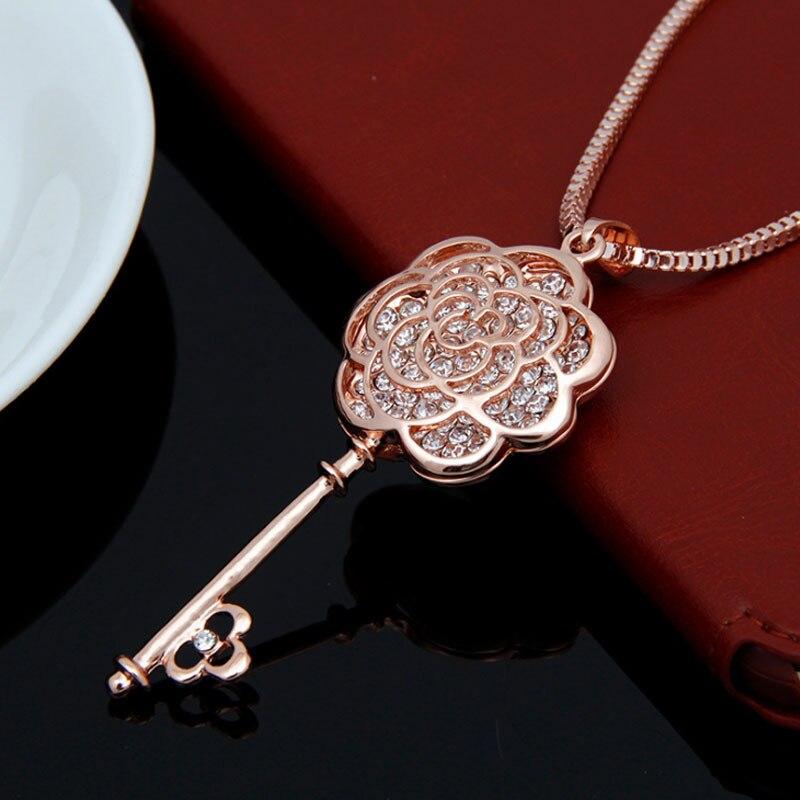 Lüks ünlü marka tasarım çiçek anahtar kolye uzun kolye kadınlar gül altın takı Femalel kazak zincir kolye