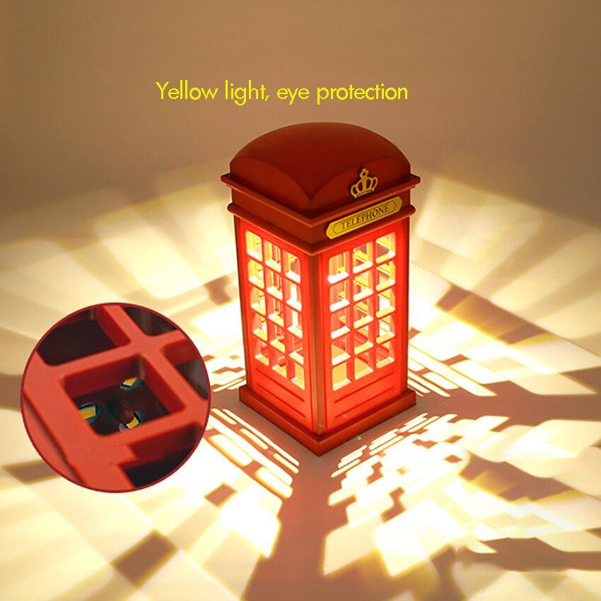 Vintage Telephone Booth USB Charging LED Night Lamp Touch Sensor Table Desk Light for Bedroom Students Adjustable Brightness