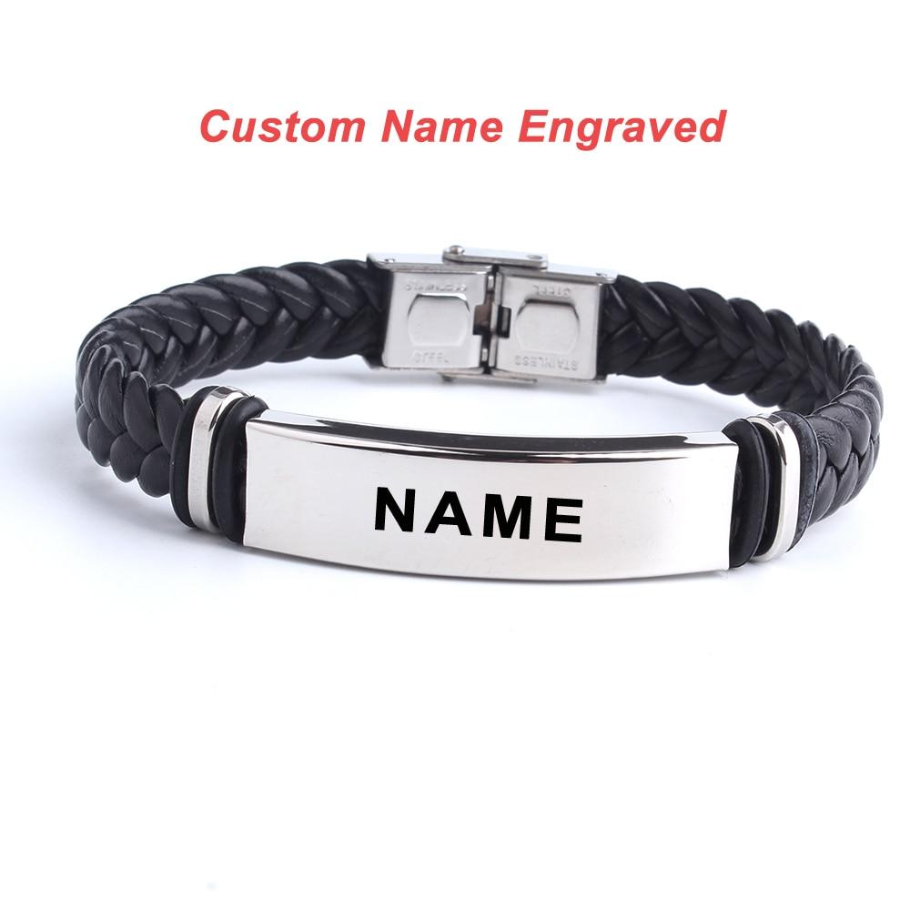 Pulsera de acero inoxidable para hombre y mujer, con logotipo personalizado, inscripción para grabar Nombre, inscripción de amor, pulsera de identificación