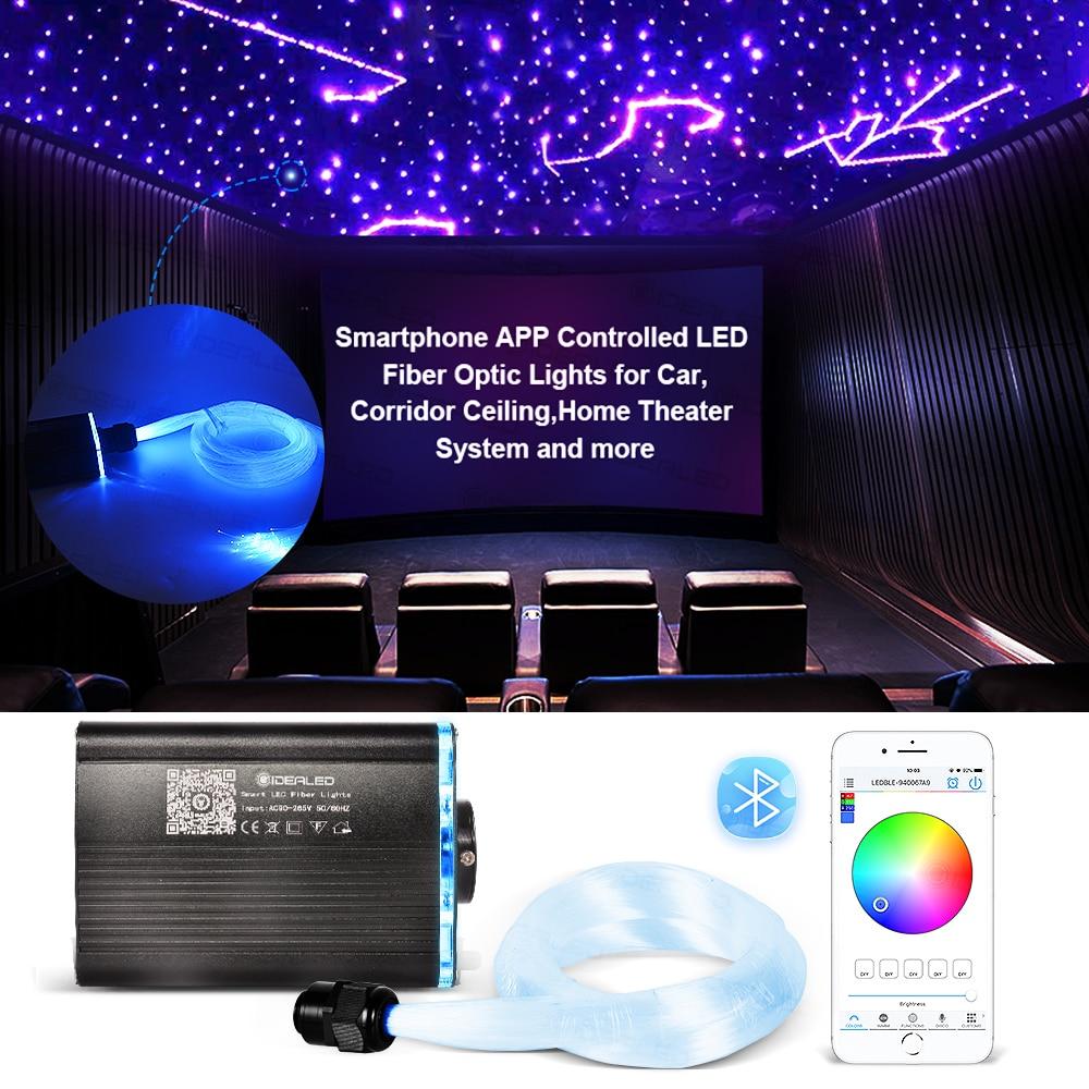 APP الذكية التحكم الألياف البصرية أضواء RGBW السماء المرصعة بالنجوم تأثير ضوء السقف 2-5 متر كابل الألياف البصرية المتاحة سيارة الديكور