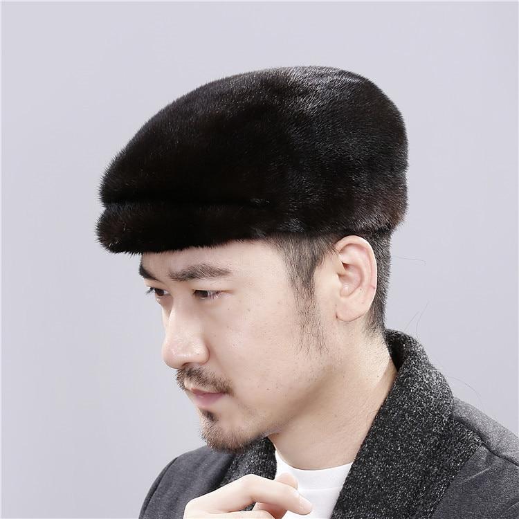 Dad Hats Mink Fur Hat Winter Warm Middle-aged and Elderly Men's Fur Forward Hat Hard Top Whole Mink Fur Cap Business Men Hat