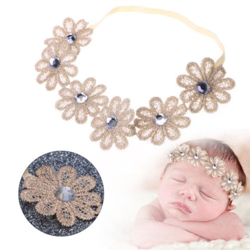 Diadema artesanal con diamantes de imitación de encaje para niña, banda elástica...