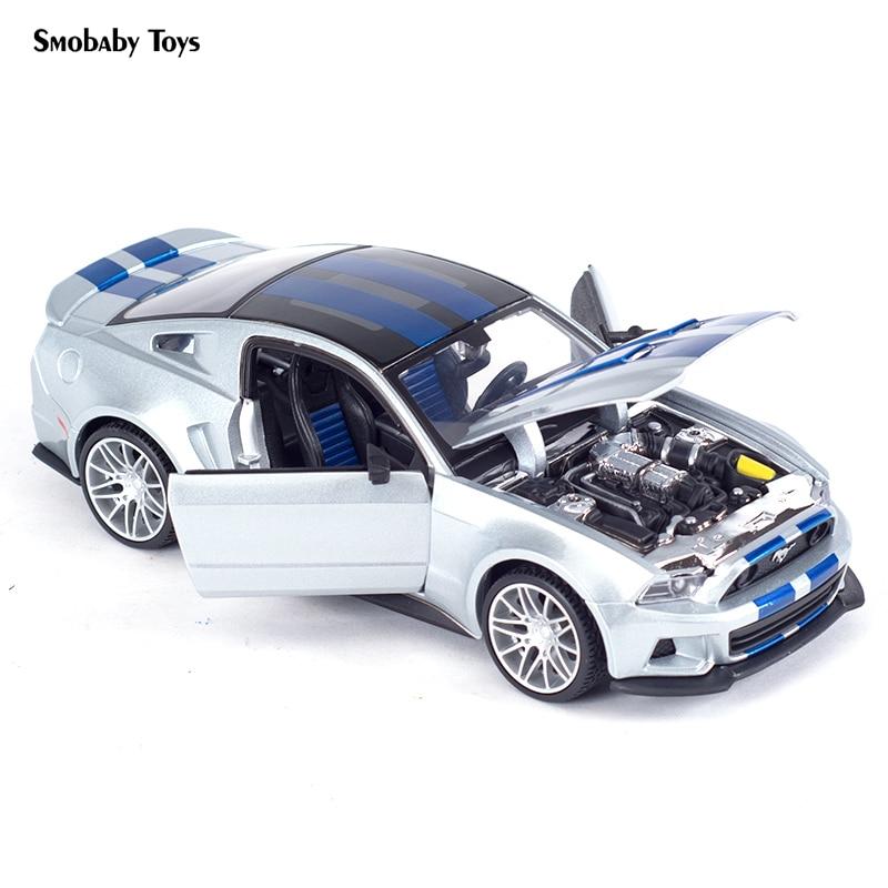 Real 124 liga modelo de carro 2014 ford mustang street racer carro esporte simulação estática diecast liga modelo carro