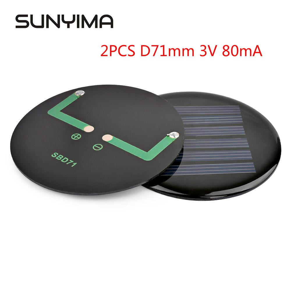 SUNYIMA 2PCS 71mm 3V Mini Portable Solar Panels Celdas Solares Monocrystalline Silicon Kit Sun Power For DIY solar