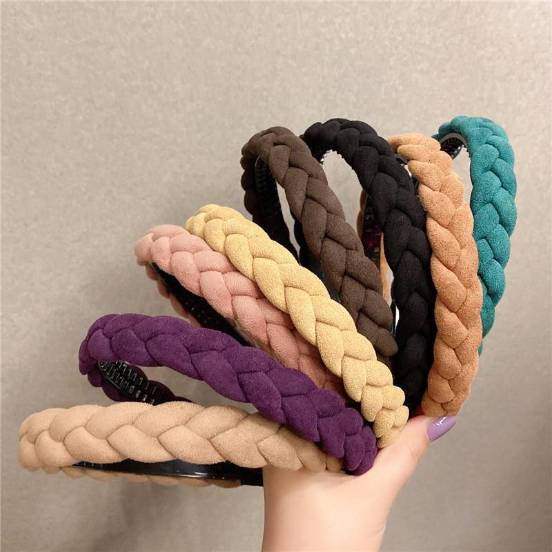 2021 Women Braid Headband Solid Color Twist Hairband Turban Elegant Female Bezel Hair Accessories La