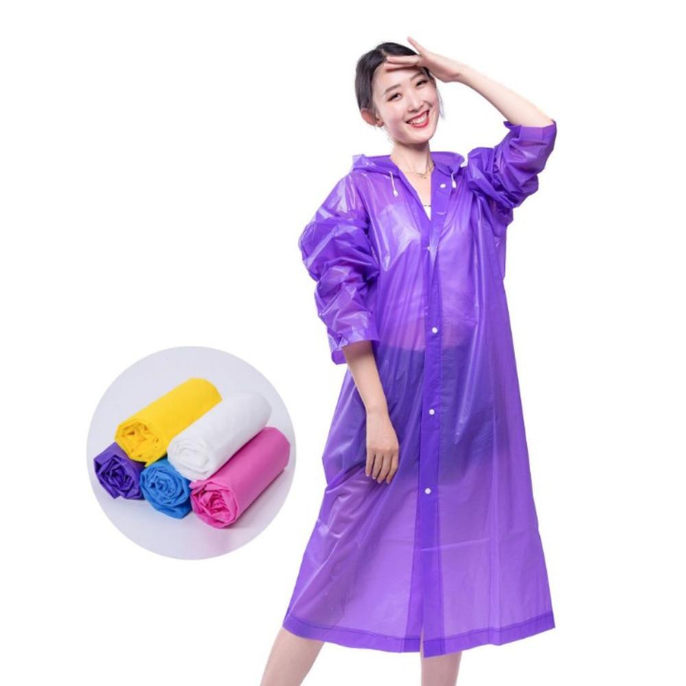 Raincoat Rain Poncho Transparent Hoodie Waterproof Reusable Adult Non-disposable Rainwear