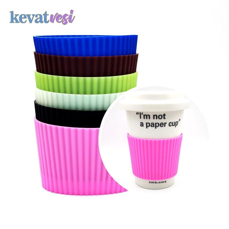 Силиконовый термоизоляционный чехол для чашки кофе, керамический чехол для чашки, Нескользящие рукава для бутылки цветные кружки